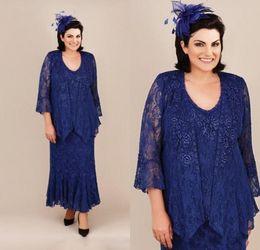 Fall Wedding Guest Dresses Jacket Australia - 2019 New Elegant Royal Blue Mother Off Bride Dresses Jewel Full Lace With Jacket Long Sleeves Plus Size Ankel Length Wedding Guest Dresses