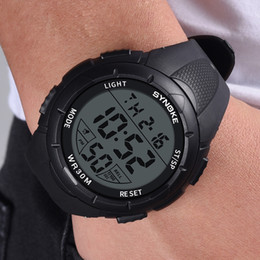 $enCountryForm.capitalKeyWord Australia - Saat Men Watch Fashion Casual Multi-Function Wrist Watch LED Digital Double Action Buckle Round PU Plastic Strap Relojes