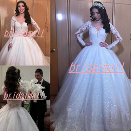 Navy ball caps online shopping - African Sequined Ball Gown Wedding Dresses Applique Lace Sheer Long Sleeve Bridal Gowns Plus Size Custom Bridal Dress Vestidos De Novia