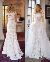 Bride Dresses Skirts Australia - Sexy Detachable Skirt Wedding Dresses 2019 Off the shoulder With Sleeve Lace Mermaid Hollow Back Tulle Cheap Wedding Gowns Bride Dress