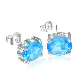 Oval Crystal Stud Earrings Canada - 6 Pairs Luckyshine Oval Blue Topaz Gems 925 Sterling Silver Plated Women Stud Earrings Jewelry New