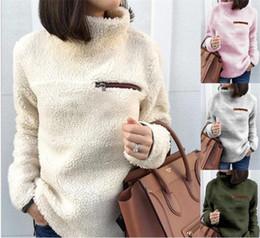 Wholesale sherpa pullover online – oversize Women Pullover Long Sleeve solid warm winter Zipper Sherpa plush Sweatshirt Soft Fleece Pullover Outwear Turtleneck Tops Hoodie M532