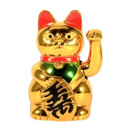 black cat ceramic UK - Electric Chinese Lucky Cat Large Gold Waving Cat Hand Paw Up Wealth Prosperity Welcoming Good Luck Waving Cat Birthday Gift