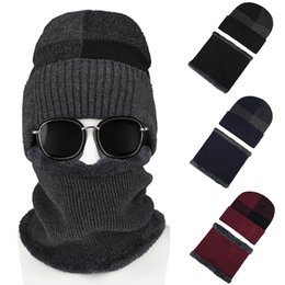 Fashion Winter Soft Warm Knitted Plush Men Baggy Beanie Cap Neck Wrap Scarf Set from boy girls lycra clothing manufacturers