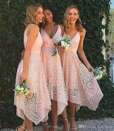 $enCountryForm.capitalKeyWord UK - 2018 New Design Sexy Tea Length Blush Pink Lace Bridesmaid Dress Irregular Hem V Neck Maid of Honor Country Wedding Guest Gowns