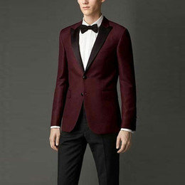 men black costume suits for wedding Australia - Burgundy Men Tuxedos for Groom Wedding Suits Groomsmen Outfit Black Peak Design 2Piece(Coat+Pants)Slim Fit Man Blazer Costumes Pour Hommes