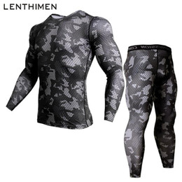 mens gym long sleeve shirt Australia - Camouflage Mens Compression Shirt Pants Set Running Tight Suit Long Sleeves Shirts Leggings Sport Suits Men Gym Workout Clothing