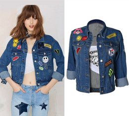 xl girl denim shorts UK - 2018 Girl Hot Denim Jacket Popular Design BF Style Embroidery Applique Cowboy Jeans Outerwear Top Ladies75272