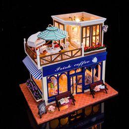 Coffee Housing Australia - 3D Coffee Shop Model Miniature Voice Control Light Dollhouse Furnitures Kit DIY Wooden Doll House Christmas Birthday Gift