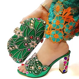 Shoes Green Color Australia - New Arrival Woman Shoes With Matching Bags Set African Rhinestone High Heels 9cM Shoes And Matching Bag Set For Party Green color shoes