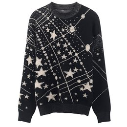 galaxy jumpers 2019 - 2018 Autumn Winter Laides Jacquard Sweaters Pullovers Retro Galaxy Star Pattern Sweater Women Vintage Long Sleeve Jumper