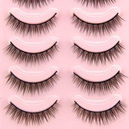 $enCountryForm.capitalKeyWord Australia - 5 Pairs 3D Mink False Eyelashes Handmade Natural Short Cross Messy Fake Eye Lashes Extension Makeup 0.5-1cm Full Strip Lashes