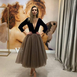 white velvet tea length dress Australia - New Arrival V Neck Long Sleeve Dubai Evening Dress 2020 Black Velvet abiye Tea Length Prom Dresses Cheap Evening Gown