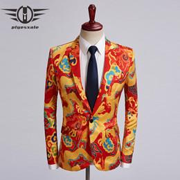 $enCountryForm.capitalKeyWord Australia - Plyesxale Autumn Mens Casual Blazers Jacket Chinese Style Red Gold Mens Dragon Printed Blazer Singer Stage Prom Blazer Q474