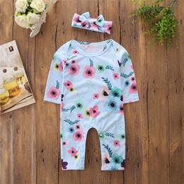 $enCountryForm.capitalKeyWord Australia - good quality Newborn Baby Girls Clothes Set 2PCs Long Sleeves Flowers Print Romper+Headband Sets Kids Clothes roupas menina