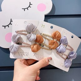 hair clip princess character UK - Korean Cute Lovely Children's Hair Bowknot Bb Clip Suit Girl's Lace Silk Clip Princess Hairpin Headdress Hair Pin Girls Jwellery