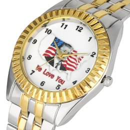 Unique Watches For Men Australia - Unique Pattern Dial Golden Case Watch for Men Charming Quartz Analog Watches Comfortable Stainless Steel Band Wristwatch for Male