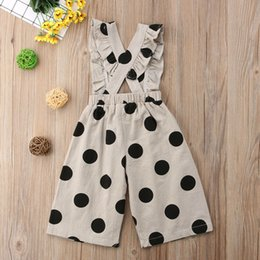 wide leg flower pants NZ - 6M-5Y Toddler Kids Baby Girl Denim Overalls Bib Pant Ruffles Polka Dot Wide Leg Jumpsuit One Pieces Clothes