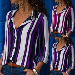 Wholesale Women Fashionable Tops Australia - Fashionable high quality Women Casual Long Sleeve Turn-down Collar Button Up Striped Shirt turn-down collar Blouse Tops #20