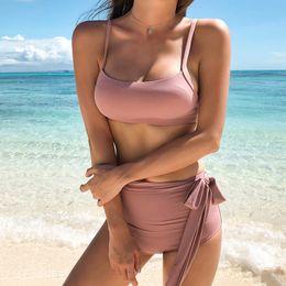 $enCountryForm.capitalKeyWord NZ - Pink Bikini Long Ties High Waist Bikini Set Sexy Swimsuit Women Cute Bandeau Swimwear Bathing Suit Summer Maillot De Bain Femme