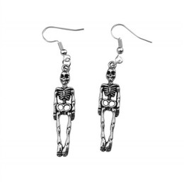 wholesale charms UK - 2019 Hot Sale Skull Skeleton Earrings Jewelry Punk Gothic Drop Dangle Earring For Women Bar Party Hip Hop Accessories Vintage Silver