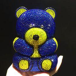 $enCountryForm.capitalKeyWord Australia - blue pink bear Evening pearl beaded Bags Ladies Wedding Party Bag Crystal Clutch Diamonds Purses wallets for bride shoulder bag