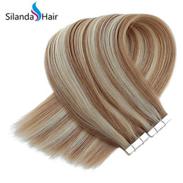 $enCountryForm.capitalKeyWord Australia - Silanda Hair High Quality Piano Color #P27 613 Straight Adhesive Tape In Remy Human Hair Extensions 20 Pcs pack Free Shipping