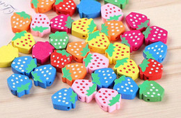 kids craft making NZ - 100pcs colorful Strawberry Shape Wood Beads Craft Kids Jewelry Making for bracelet 15x18MM