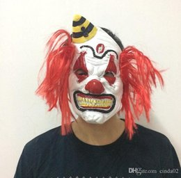 Red Hair Halloween Australia - Deluxe Scary Mask With Red Hair Clown Mask Halloween Costume Evil Clown Mask