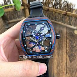 Hollow Fiber Australia - 6 colors MEN'S COLLECTION Luminous color fiber case V 45 Automatic Mens Watch 44mm Hollow big dial Rubber strap Gents sport Watches