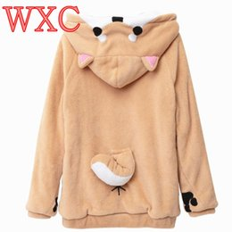 vetement hoodie NZ - pullover sweatshirt Doge Women Hoodies Ear Hoodie Pouch Women's Clothing Pullover Sweatshirt Vetement Kawaii Japanese Anime Tail WXC
