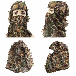 camouflage suits UK - Tactical Camouflage Leafy Hunting Ghillie Suit Leafy Net Hood Green Eyehole Opening and Leaf Pattern