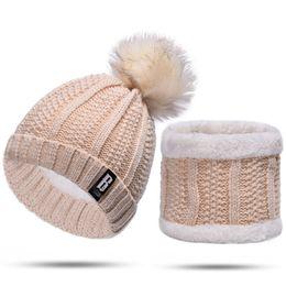$enCountryForm.capitalKeyWord Australia - Women Knitting Hat Wool Pure Color Scarf Set Matching Hat Winter Warm Cap Casual Pompom Bobble Beanie Hats