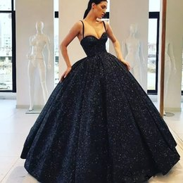 $enCountryForm.capitalKeyWord Australia - Bling Bling Black Sequined Prom Dresses Spaghetti Strap Backless Ball Gown Party Gown Floor Length Evening Wear