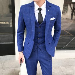 Skinny Fitted Suits NZ - 2018 Latest Designs Men Suits 3 Piece Plaid Suit Men Plus Size Korean Style Dress Slim Fit Skinny Prom Wedding Suits for