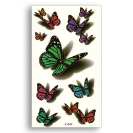 Wholesale Waterproof Temporary Stickers Water Transfer Fake Tattoo Women Body Art Butterfly d Charm Colour Makeup Home Decor Wrist