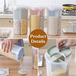 Storage Containers Kitchen NZ - FUNIQUE Rice Beans Stoarge Jar With Seal Cover 4 Lattices Refrigerator Preservation Container Plastic Kitchen Storage Box
