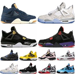 Discount newest outdoor soccer shoes Newest Bred 4 4s What The Cactus Jack Laser Wings Mens Basketball Shoes Denim Blue Pale Citron Men Sport Designer Sneake