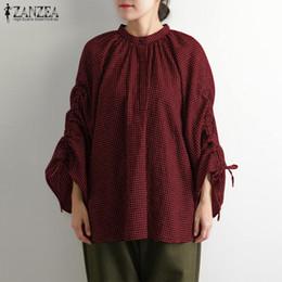 $enCountryForm.capitalKeyWord NZ - 2019 ZANZEA Women Flare Sleeve Blouses Casual Female Vintage Check Pleated Shirts Work Tunic Tops Robe Plus Size Femme Blusas