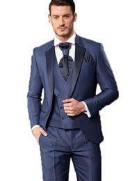China Brand New Blue Groom Tuxedos Notch Lapel Groomsmen Mens Wedding Dress Excellent Man Jacket Blazer 3 Piece Suit(Jacket+Pants+Vest+Tie) 1672 cheap slim fitting wedding dresses suppliers