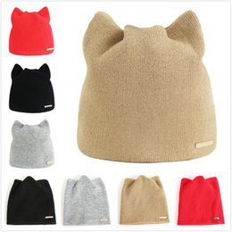 d67695bcabf Fashionable Women Har Autumn Winter Hat Beanie Soft Knit Solid Color Ladies  Casual Cap Thick and Warm Cute Cat Ear Hat