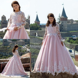 $enCountryForm.capitalKeyWord NZ - Pink Long Sleeves Flower Girl Dresses For Weddings Jewel Lace Appliques Child Birthday Party Gowns Cosplay Wear Girls Pageant Dresses