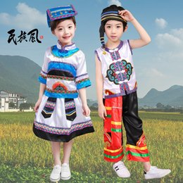 miao clothing Australia - Children's Minority Performance Costumes Girls Miao Performing Costumes Zhuang Nationality Dai People's Clothing