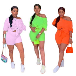 Pink Clothing Women UK - Womens Two Piece Set Outfits short sleeve sportswear Tracksuit Sexy Jogging Sports short sleeves pants Suit Sportswear women clothes klw1087