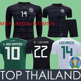 414afc4fa91 Fans Player 2019 Mexico Black Gold Cup Soccer Jerseys LOZANO LAYUN  CHICHARITO Long Sleeve Football Shirts Women+MEN+Kids Kits Sets Uniform