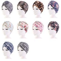 $enCountryForm.capitalKeyWord Australia - Muslim Women Cotton Ruffle Print Sleep Turban Hat Headwear Chemo Beanies Headwrap Caps for Cancer Hair Loss Cover