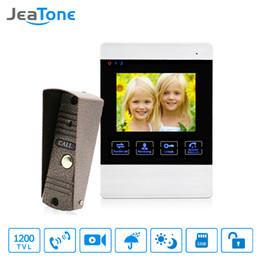 Camera Detection System Australia - JeaTone 4 inch 4 Wired Door Phone Video Intercom Doorbell Home Security Camera System Waterproof Motion Detection On Door Panel
