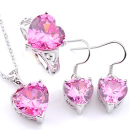 a1c1e46641a0 Luckyshine Mix 3 Unids   lote Regalo del Día de San Valentín Corazón Collar  Pendientes Anillo