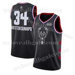 8f65237ef Men s Milwaukee Jersey Bucks 34 Giannis 34 Antetokounmpo Basketball Jerseys  2019 New Black White Stitched jersey Free Shipping