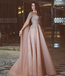 Sheer rhineStoneS prom dreSS online shopping - Luxury Blush Pink A Line Prom Dresses Spaghetti Straps Beaded Crystals Floral Applique Wateau Train Rhinestone Formal Evening Party Gowns